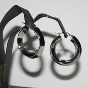 NWOT 1.25 inch wide Stainless Steel Hoop earrings